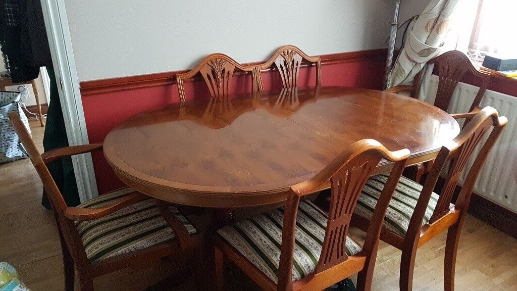 Reproduction yew dining table & six chairs   in St Ives ...