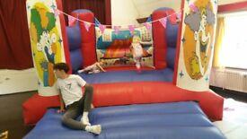 Bouncy castle with a honda petrol blower