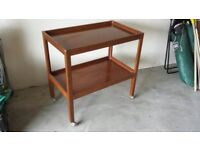 Wooden trolley with 2 shelves