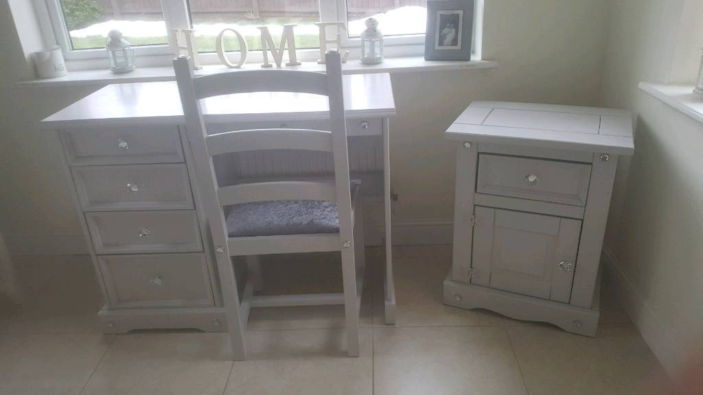 French Grey Shabby Chic Pine Bedroom Set Dressing Table Chair And