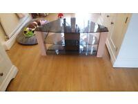 Glass tv corner unit