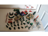 Collection of Toy Soldiers, Military Vehicles, Aircraft in various conditions