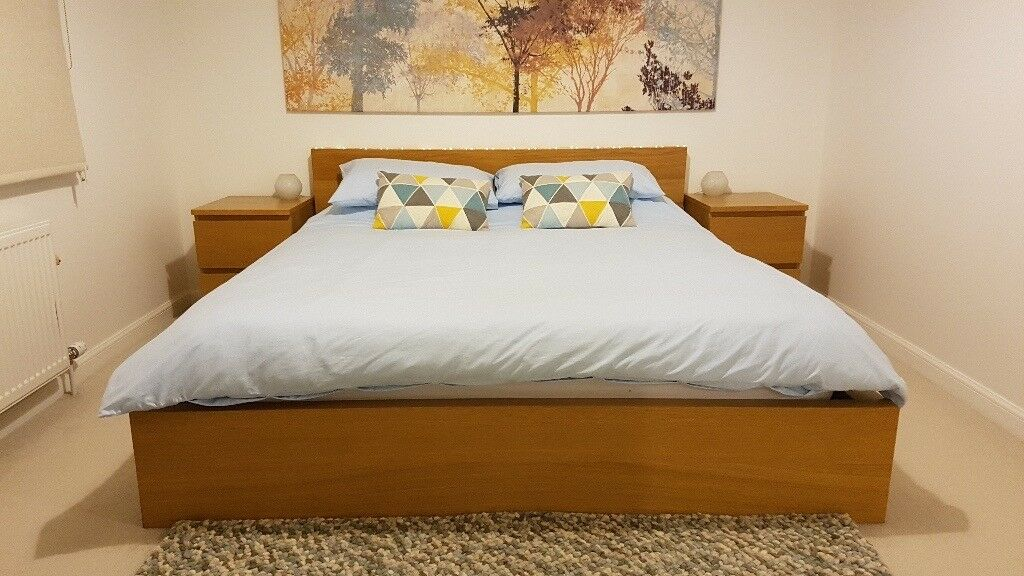 IKEA Malm King Size Bed + Bedside Tables + Mattresses + Lights