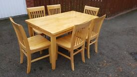 Solid Rubber Wood Dining Table & 6 Chairs FREE DELIVERY (03483)