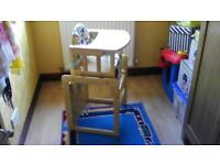 Wooden high chair(splits into 2 parts)