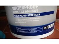 Water proof tile adhesive, hardly used from 10 L container