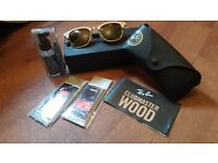 Raybans clubmaster wood special edition. and cleaning products in brand spanking condition