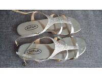Schuh silver diamante T bar sandals