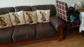Dark Brown Sofa N 2 Chair