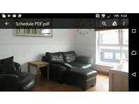 DfS 2 Seater Black sofa,Swivel Chair and Storage poofy