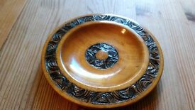 Vintage Carved Wooden Plate, Decorative, Collectable