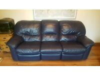 3 Piece Navy Leather Recliner Sofa Suite
