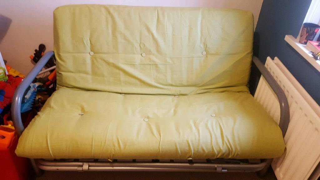 Metal Double Sofa Bed With Light Lime Green Futon Mattress