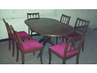 Table and 6 chairs.