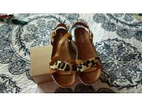 Ladies animal print sandals size 6