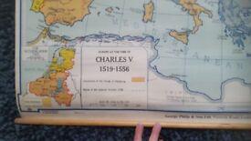Vintage Map Europe Social Sciences - Charles V period.