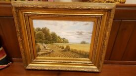 antique oil painting in original gilt frame, signed