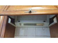 Solid wooden kitchen, carcasses, doors, sink, tap, worktop and extractor fan.