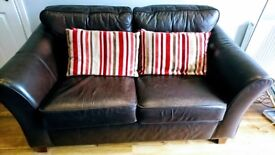 Marks and Spencer Abbey Dark Leather Brown Sofa