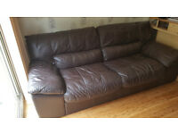 DFS 3 seater Charesma 100% Real Genuine Leather Sofa Chocolate with Back support