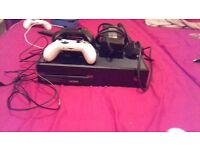 Xbox One with 2 controllers, play and charge lead and audio jack