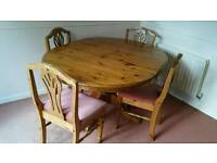 Ducal Victoria antique pine dining room table and 4 chairs