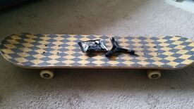 Skateboard and helmet
