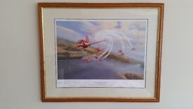 RAF Aviation print of the Red Arrows in Cornwall - Concorde Roll over Fowey. Signed limited Edition