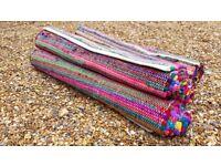 Organic Multicoloured Chindhi Rug Yoga Mat Carpet Pilates x 4