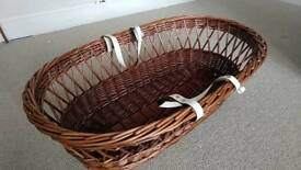 John Lewis wicker moses basket with stand, covers and mattress