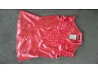 Coral satin effect shirt, size 8