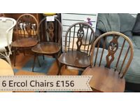 6 beautiful Ercol chairs
