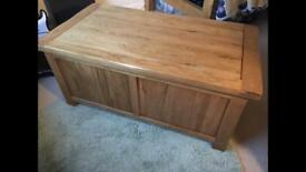 Solid oak chest / storage or toy box ottoman coffee table seat Laura Ashley John Lewis habitat Loaf