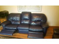 Leather 3 Seater Sofa and 2 Armchairs