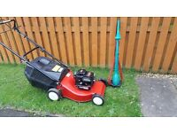 Petrol mower and electric strimmer