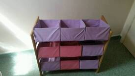 Girls canvas toy boxes. 2 bed guards. Hardly been used.good condition