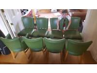 8 dining room chairs - green leather