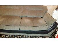 Beautiful corner Sofa Black & Grey with black leather trim