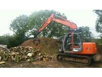 """Hire Hitachi digger with cone log splitter wood chipper 16"""" firewood processor"""