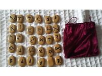 Full set of NEW rune stones and pouch - Never been used - Wicca, psychic, fortune telling, spiritual