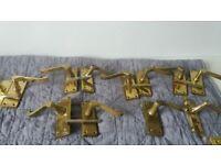 Interior door handles-Brass - 16 pairs 3 different styles 2 x 6 pairs 1 x 4 pairs + some latches