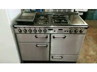 Rangemaster professional cooker silver black 110cm electric oven gas hobs
