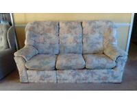 Sofas and armchair- 3 seater, 2 seater and chair suite. Cream floral fabric. Good condition.