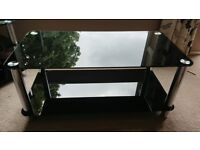 Black glass Coffee table, TV unit and side tables