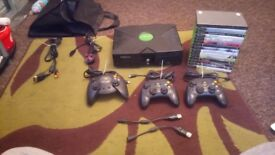 Original Xbox fully working with 3 official controllers & official leads & 15 games Collection only