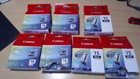 14 CANON PIXMA 8 x BCI 16 COLOUR & 6 x BCI 15 BLACK CARTRIDGES total of 16 cartridges