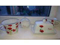 Dunelm Mill poppy range bundle sugar bowl, butter dish and 2 x large mugs