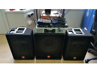 JBL Professional JRX 100 Series, 2 loudspeakers, 1 subwoofer, 1450W AMPLIFIER, Mixer, all cables