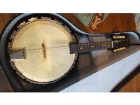 Vintage 1920/30s Melody Major 8 String BANJOLIN (Banjo Mandolin) With Original Hard Case