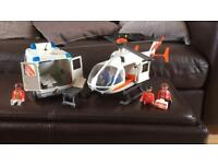 Playmobil lights and sound ambulance and helicopter